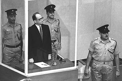 Defendant Adolf Eichmann at his trial at Jerusalem - photo: © Government Press Office - State of Israel