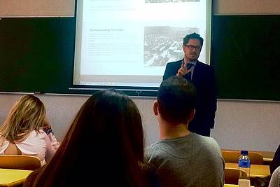Mr. Eduardo Toledo giving a lecture at the Alfonso X el Sabio University in Madrid