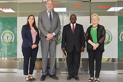 Natacha Bracq, Klaus Rackwitz (both Nuremberg Academy), Prof. Peter Apker (Nigerian Institute of Advanced Legal Studies), and Bettina Ambach (Wayamo Foundation) (from left to right)