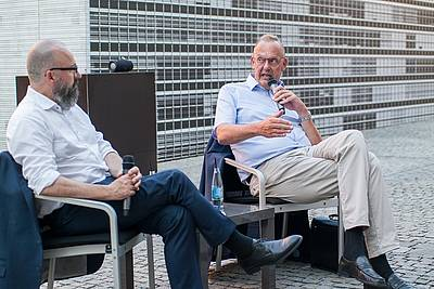 Prof. Dr. Hans-Joachim Wagner, Head of the City of Nuremberg's European Capital of Culture 2025 Bid Office, and Klaus Rackwitz, Director of the Nuremberg Academy - photo: Michael Lyra