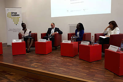 Marian Yankson-Mensah (Nuremberg Academy) with Dr. Philipp Ambach (International Criminal Court), Brenda Akia (Chair) and Prof. Chantal Meloni (ECCHR / Universitá degli Studi di Milano) (from left to right) - photo: private