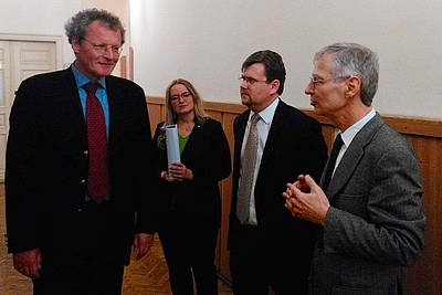 Director Borchardt with Werner Köhler, Consul General of the Federal Republic of Germany, Dr. hab. Adam Gorsk of Jagiellonian University, and  Krakow Joanna Chwastek (translator).
