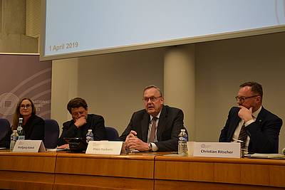 from left to right: Dr. Vivinane Dittrich (Nuremberg Academy), Wolfgang Kaleck (ECCHR), Klaus Rackwitz (Nuremberg Academy), and Christian Ritscher (Office of the German Federal Prosecutor General)