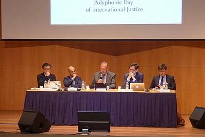 "Director Klaus Rackwitz chairing the panel on ""The Impact of the Universal Declaration of Human Rights in its 70th Anniversary: Achievements and Failures"""