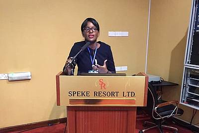 Dr. Josephine Ndagire, International Nuremberg Principles Academy, at the ICGLR Conference