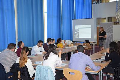Deputy Director Dr. Viviane Dittrich presenting the Nuremberg Academy to students from Israel
