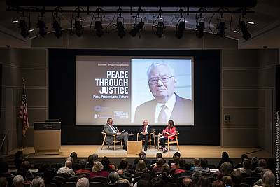 Klaus Rackwitz, Judge Thomas Buergenthal, and Anna Cave (from left to right) during the panel discussion - photo: United States Holocaust Memorial Museum