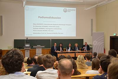 The panelists from left to right: Prof. Thomas Kleinlein, PD Dr. Annette Weinke, Dr. Alexander Schwarz, Gerlinde Sommer, and Klaus Rackwitz
